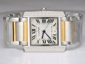 Great Cartier Tank Two Tone with Diamond Bezel-White Dial Lady Model AAA Watches [Q6L4]