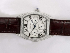 Great Cartier Tortue Chronograph Diamond Bezel with White Dial Lady Size AAA Watches [T4U2]