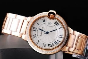 Modern Cartier Ballon bleu Automatic Diamond Bezel with Full Rose Gold AAA Watches [P6V9]