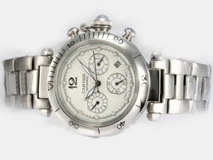 Modern Cartier Pasha Chronograph Automatic with White Dial AAA Watches [E3V1]