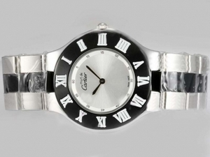 Modern Cartier Pasha Must Be with Silver Dial Black Bezel AAA Watches [P5E8]