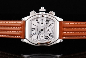 Modern Cartier Roadster Automatic with White Dial and orangered Leather Strap AAA Watches [X5M6]