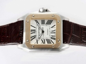 Modern Cartier Santos 100 Automatic Two Tone with White Dial AAA Watches [V2S6]