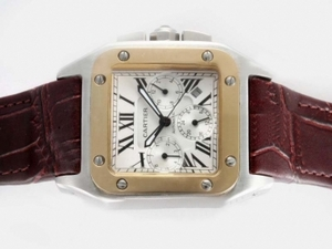 Modern Cartier Santos 100 Chronograph Automatic Two Tone Case with White Dial AAA Watches [R2T1]