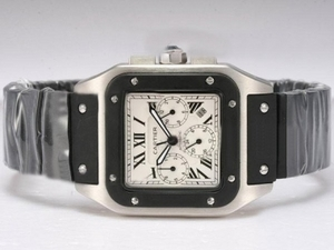 Modern Cartier Santos 100 Chronograph Automatic with White Dial-Rubber Strap AAA Watches [S3O6]