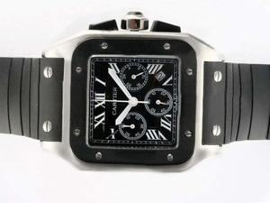 Modern Cartier Santos 100 Working Chronograph with Black Dial-Rubber Strap AAA Watches [R1L6]