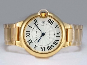 Perfect Cartier Ballon Bleu de Cartier Automatic Full Gold with White Dial AAA Watches [G1O2]
