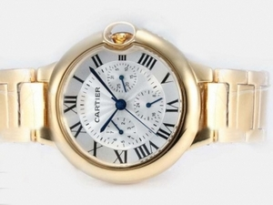 Perfect Cartier Ballon Bleu de Cartier Chronograph Automatic Full Gold AAA Watches [O1W7]