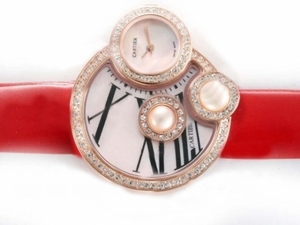Perfect Cartier Classic Rose Gold Case Diamond Bezel with Pink Dial AAA Watches [S4K7]