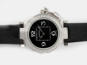 Perfect Cartier Pasha Automatic Diamond Bezel with Black Dial AAA Watches [H8N3]