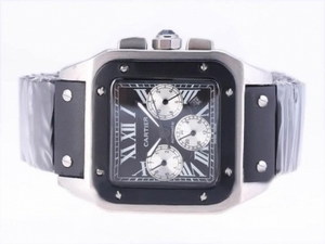 Perfect Cartier Santos 100 Chronograph Automatic with Black Dial-Rubber Strap AAA Watches [E4C7]