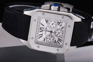 Perfect Cartier Santos 100 Chronograph Quartz Movement with White Dial AAA Watches [E1S3]