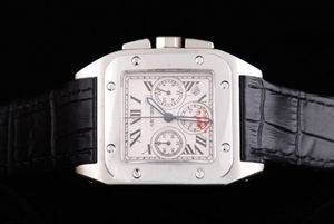 Perfect Cartier Santos 100 Quartz Movement Silver Case with White Dial AAA Watches [A5N7]