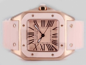 Perfect Cartier Santos 100 Rose Gold Case with Pink Dial and Rubber Strap AAA Watches [K6E7]