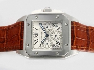 Perfect Cartier Santos 100 Working Chronograph with White Dial AAA Watches [F9Q1]