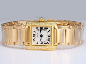 Perfect Cartier Tank Full Gold with Diamond Bezel-White Dial Lady Model AAA Watches [X1V8]