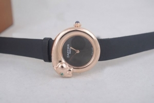 Popular Cartier Classic Quartz Rose Gold Case with Black Dial-Lady Size AAA Watches [A4F4]