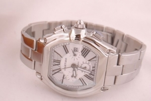 Popular Cartier Roadster Automatic with White Dial and orangered Leather Strap AAA Watches [O2X6]