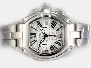 Popular Cartier Roadster Chronograph Automatic with White Dial Man Size AAA Watches [V4J7]