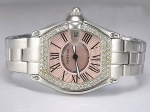 Populaire Cartier Roadster Diamond Bezel avec Pink Taille-Dame Dial Montres AAA [K5K7]