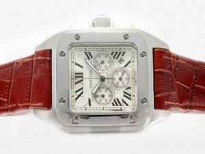 Popular Cartier Santos 100 Working Chronograph with White Dial AAA Watches [T4F4]
