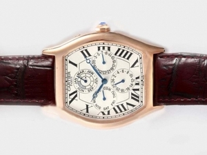 Popular Cartier Tortue Quantieme Perpetual Automatic Rose Gold Case AAA Watches [Q6R3]