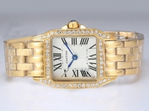 Quintessential Cartier Montre Santos Demoiselle Full Gold with Diamond Bezel AAA Watches [R6W6]