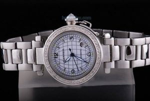 Quintessential Cartier Pasha Automatic Diamond Bezel with White Dial AAA Watches [P7L8]