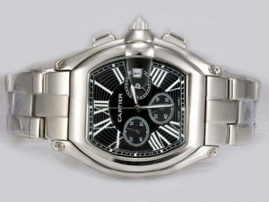 Quintessential Cartier Roadster Working Chronograph with Black Dial AAA Watches [J2H2]