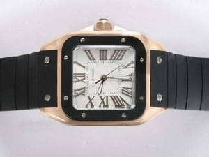 Quintessential Cartier Santos 100 Gold Case with White Dial-Rubber Strap Lady Size AAA Watches [B8I9]