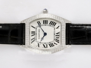 Quintessential Cartier Tortue Diamond Bezel with White Dial AAA Watches [U2J1]