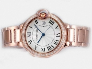 Vintage Cartier Ballon Bleu de Cartier Full Rose Gold with Diamond Bezel AAA Watches [S6R3]