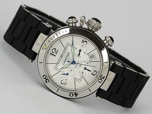 Vintage Cartier Pasha Chronograph Automatic Silver Dial with Rubber Strap AAA Watches [J6I3]