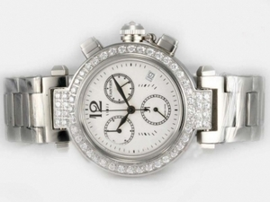 Vintage Cartier Pasha Working Chronograph Diamond Bezel with White Dial AAA Watches [I6Q1]