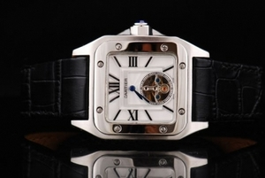 Vintage Cartier Santos 100 Tourbillon Automatic Movement Silver Case AAA Watches [T4M8]