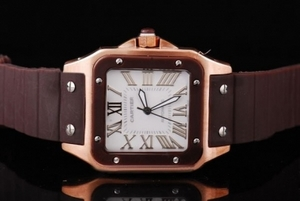 Vintage Cartier Santos 100 automatic Rose Gold Case with chocolate Bezel AAA Watches [N7S3]