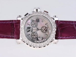 Cool Chopard Happy Sport Working Chronograph Diamond Bezel with MOP Dial AAA Watches [T1R9]