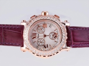 Fancy Chopard Happy Sport Chronograph Working Rosa dell'oro della cassa Diamond Bezel Orologi AAA [H1P4]