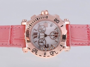 Fancy Chopard Happy Sport Working Chronograph Rose Gold Case AAA Watches [E5G2]