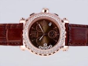 Great Chopard Happy Sport Working Chronograph Rose Gold Case Diamond Bezel AAA Watches [C8J3]