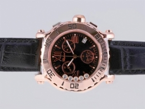 Perfect Chopard Happy Sport Working Chronograph Rose Gold Case with Black Dial AAA Watches [E6U6]