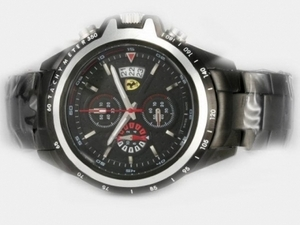 Cool Ferrari Working Chronograph Full PVD with Black Dial-New Version AAA Watches [W9B1]