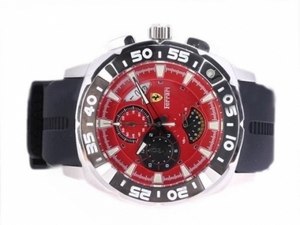 Perfect Ferrari Working Chronograph with Red Dial-Rubber Strap AAA Watches [F6J1]
