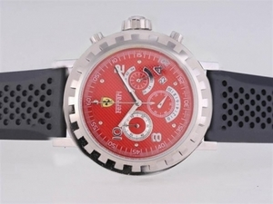 Popular Ferrari Working Chronograph with Red Dial-Rubber Strap AAA Watches [K5U6]