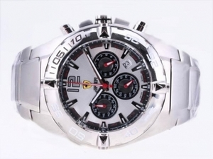 Popular Ferrari Working Chronograph with White Dial-New Version AAA Watches [K9G1]