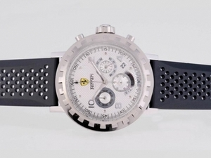 Vintage Ferrari Working Chronograph with White Dial-Rubber Strap AAA Watches [P7L4]