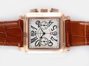 Cool Franck Muller Conquistador Chronograph Lemania Movement Rose Golden AAA Watches [J6E1]