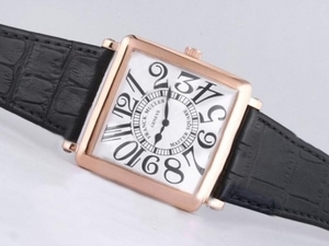 Cool Franck Muller Master Square Rose Gold Case with White Dial AAA Watches [J1B8]