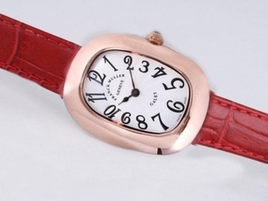 Case Fantaisie Franck Muller Galet or rose avec cadran blanc et rouge Strap Montres AAA [O5B7]