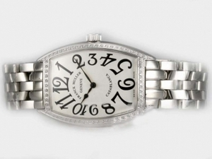 Perfect Franck Muller Casablanca Automatic Diamond Bezel with White Dial AAA Watches [C4O5]